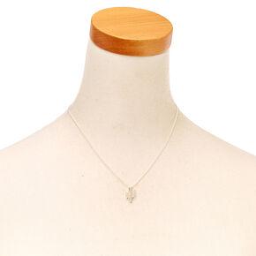 Silver Cactus Pendant Necklace,