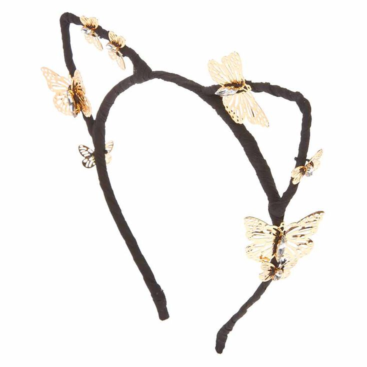 Black Cat Ears with Gold Butterflies Headband at Icing in Victor, NY | Tuggl