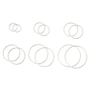 Silver-tone Graduated Laser Cut  Hoop Earrings,