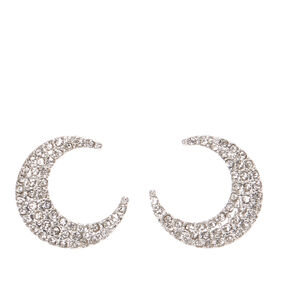 Silver-tone Pavè Crescent Moon Stud Earrings,