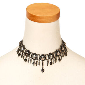 Gothic Black Gem and Chain Choker Necklace,