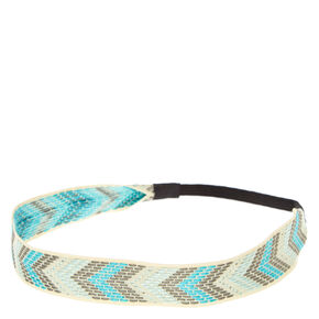 Mint And Grey Chevron Headwrap,