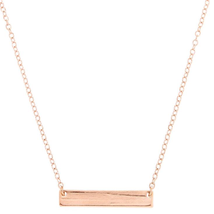 Rose Gold-Tone Bar Pendant Necklace,