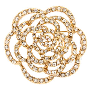 Gold-tone and Faux Crystal Rose Brooch Pin,