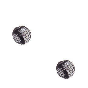 Black Mesh Wrapped Faux Pearl Stud Earrings,