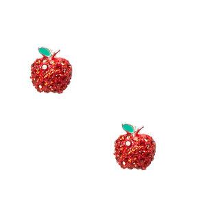 Crystal Apple Stud Earrings,