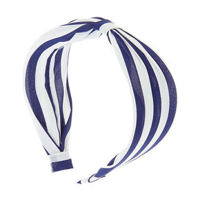 Navy and White Striped Wide Cinched Headband,