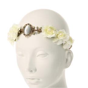 Cream Flowers with Stone Medallion Hair Garland,