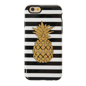 Metallic Gold Pineapple and Stripped Phone Case,