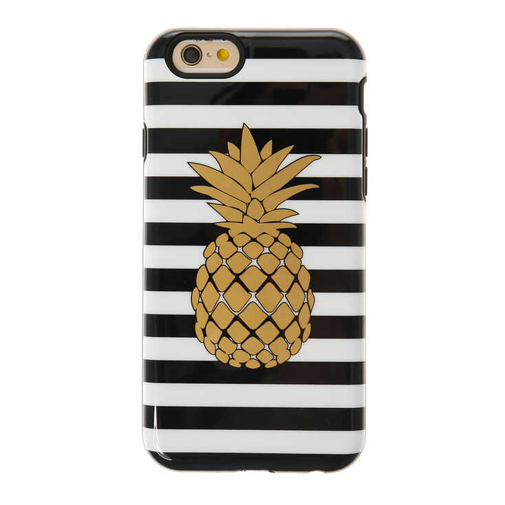 Metallic Gold Pineapple and Stripped Phone Case at Icing in Victor, NY | Tuggl