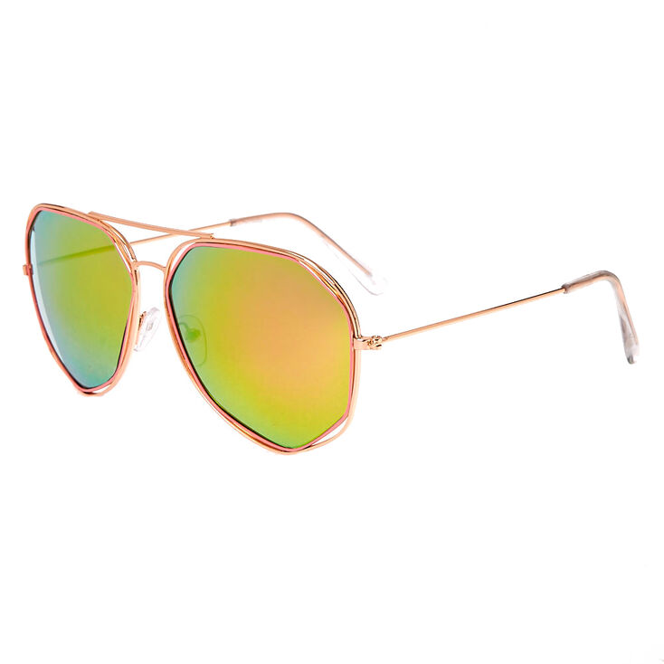 Rose Gold-Tone and Pink Aviator Sunglasses with Geometric Detail,
