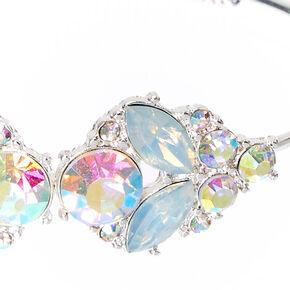 Silver Tone Opal Deco Open Cuff Bracelet,