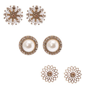Floral Gold-tone and Faux Pearl  Oversized Stud Earrings,