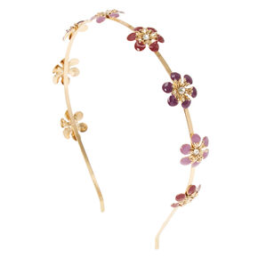 Purple Flower Gold Headband,