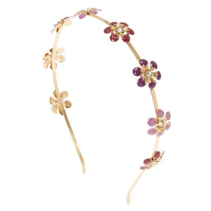 Purple Flower Gold Headband,