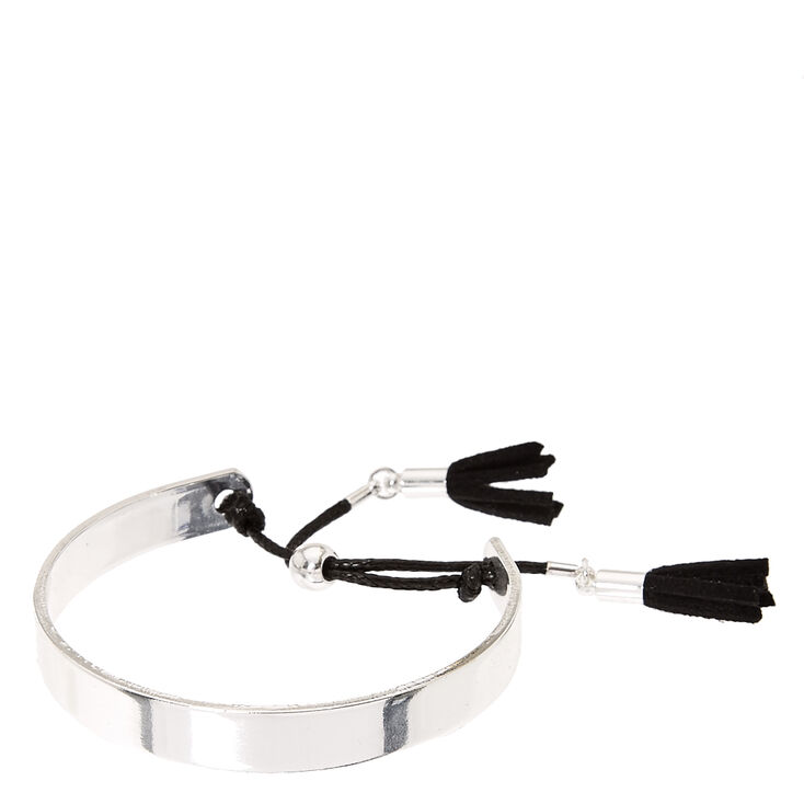 Silver Cuff with Black Cord Tassels,