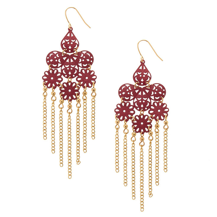Wine Filigree Chandelier with Gold Chain Fringe Drop Earrings,