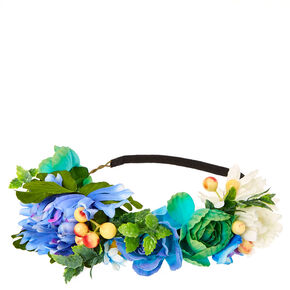 Shades of Blue Spring Flower Headwrap,