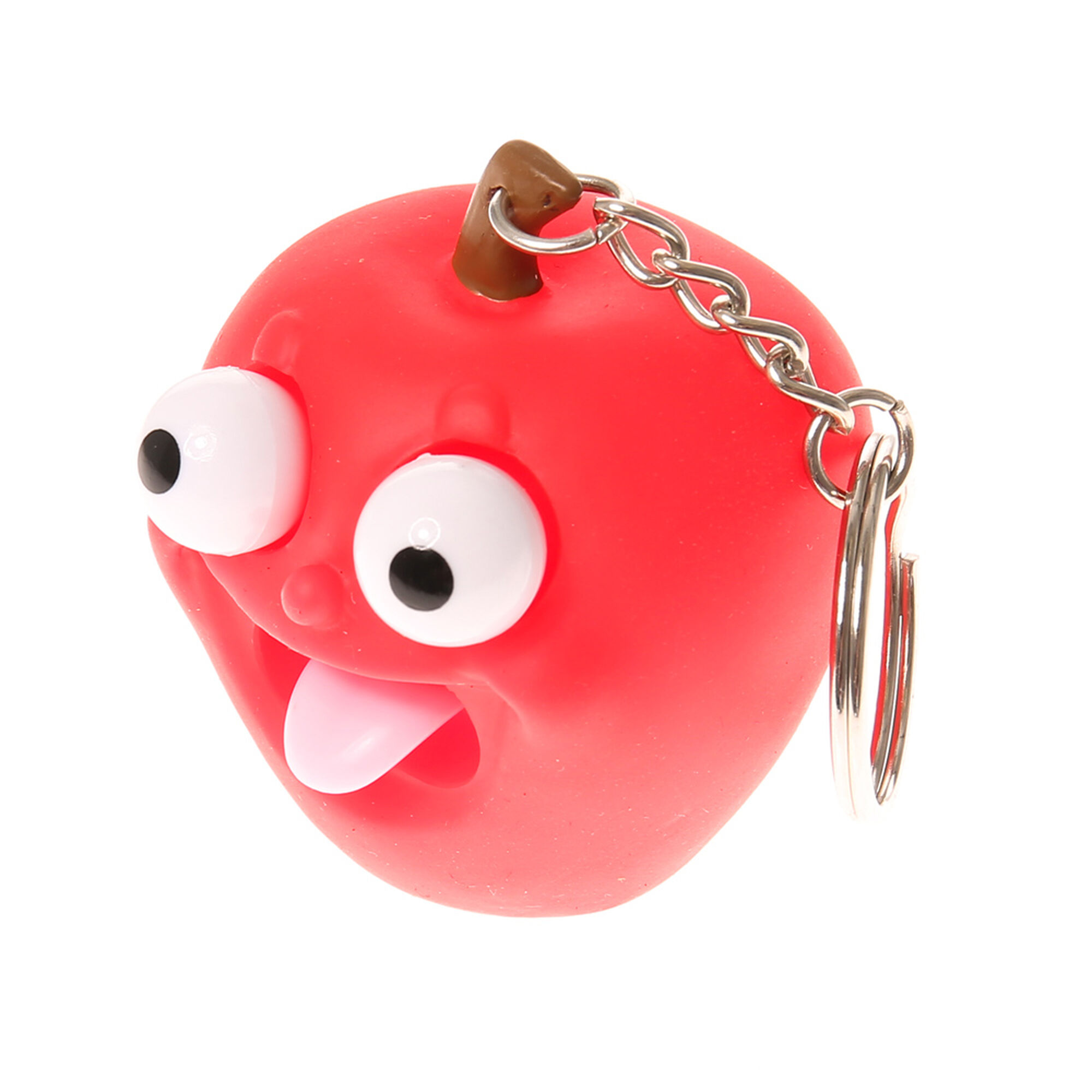 apple keychain. rubber apple with popping tongue keychain e