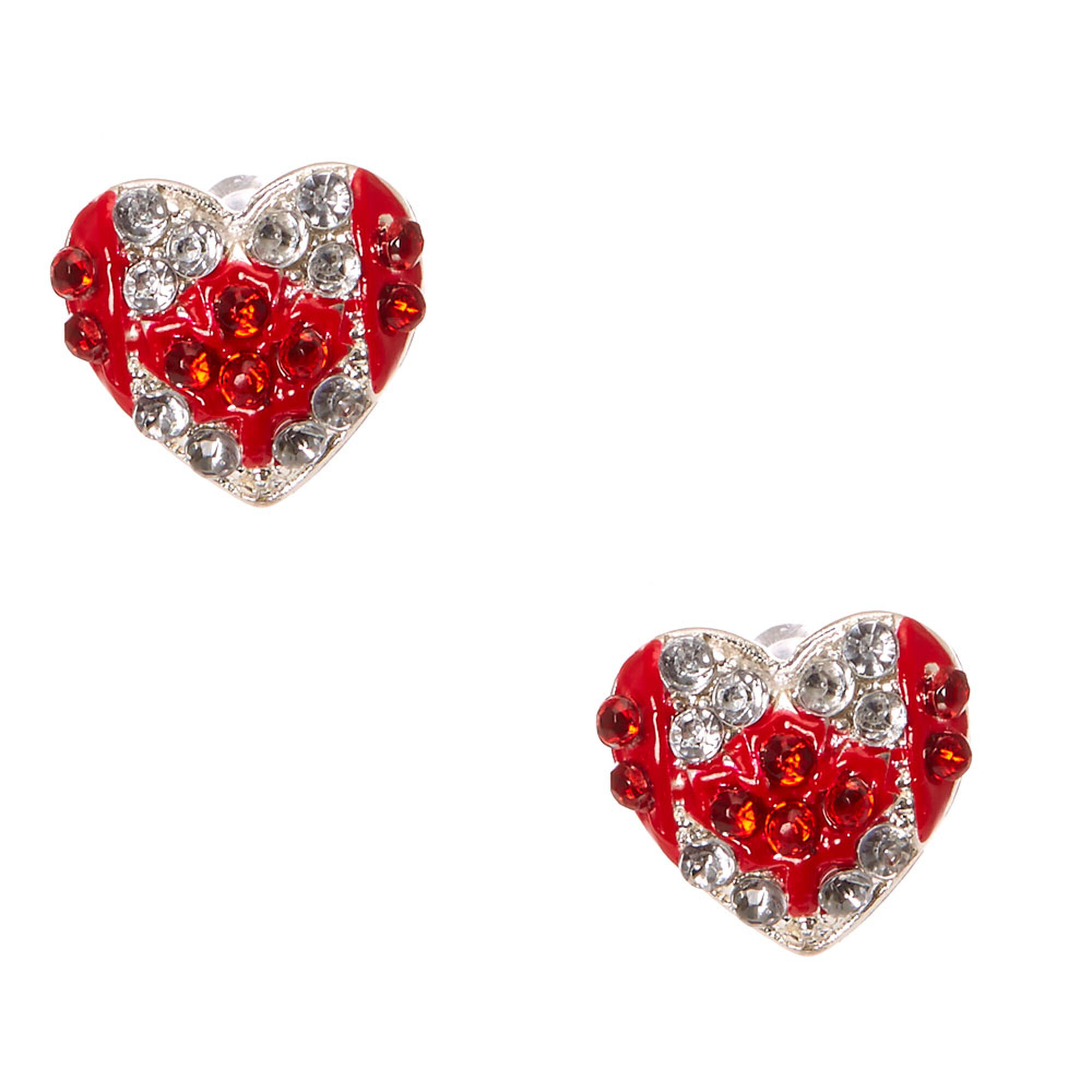 Canadian Flag Crystal Heart Stud Earrings,