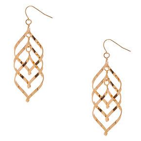 Gold-tone Double Swirl  Drop Earrings,