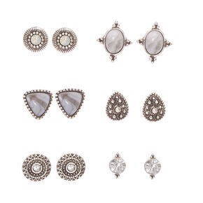 Antique Silver-tone Geometric Marbled Stone Stud Earrings,