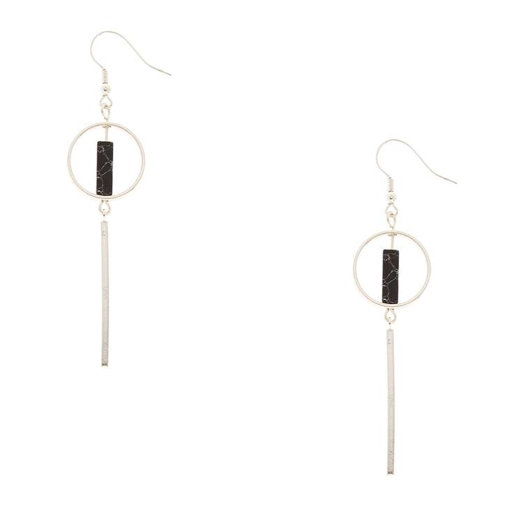 Geometric Silver-tone and Black Marbled Stone Drop Earrings,