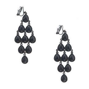 Jet Black Gem Chandelier Clip-on Earrings,