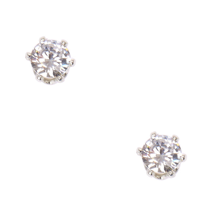 5mm Round  Cubic Zirconia Magnetic Stud Earrings,