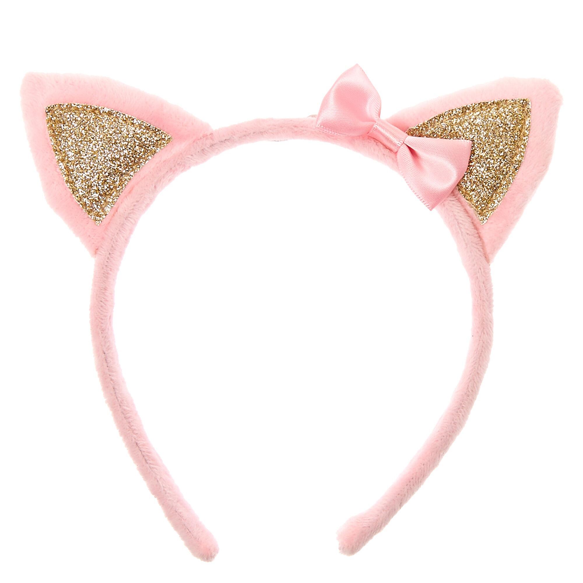Serre t te duveteux oreilles de chat rose pour enfant claire 39 s fr - Oreille de chat serre tete ...