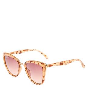 Brown Marble Print Cat Eye Sunglasses,