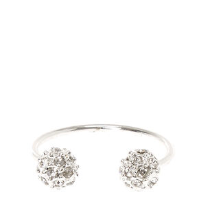 Double Silver-tone Fireball Cuff Ring,