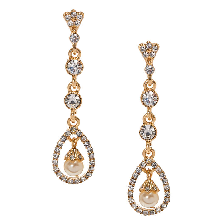 Gold-tone and Crystal Open Teardrop with Faux Pearl Linear Drop Earrings,