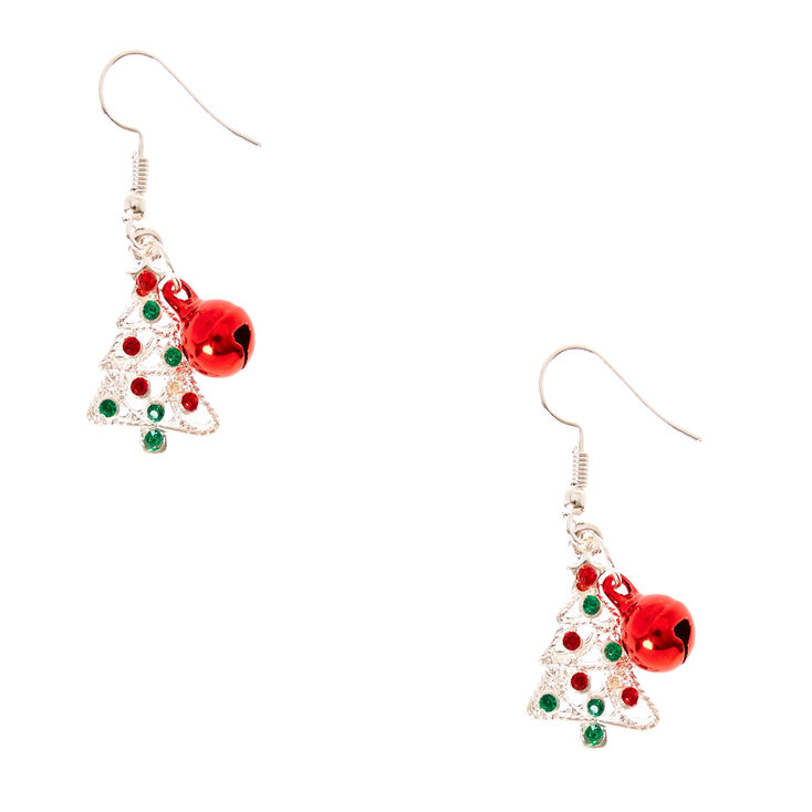 Silver Christmas Tree & Jingle Bell Drop Earrings,