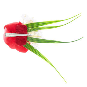 Red Rose Flower Cluster Hair Clip,