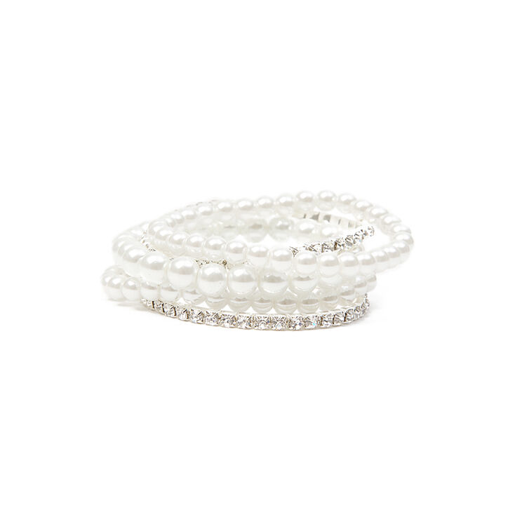 Pearl and Rhinestone Stretch Bracelets Set of 5,