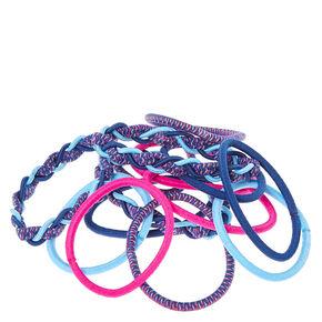 Magenta and Blue Braided Hair Ties,