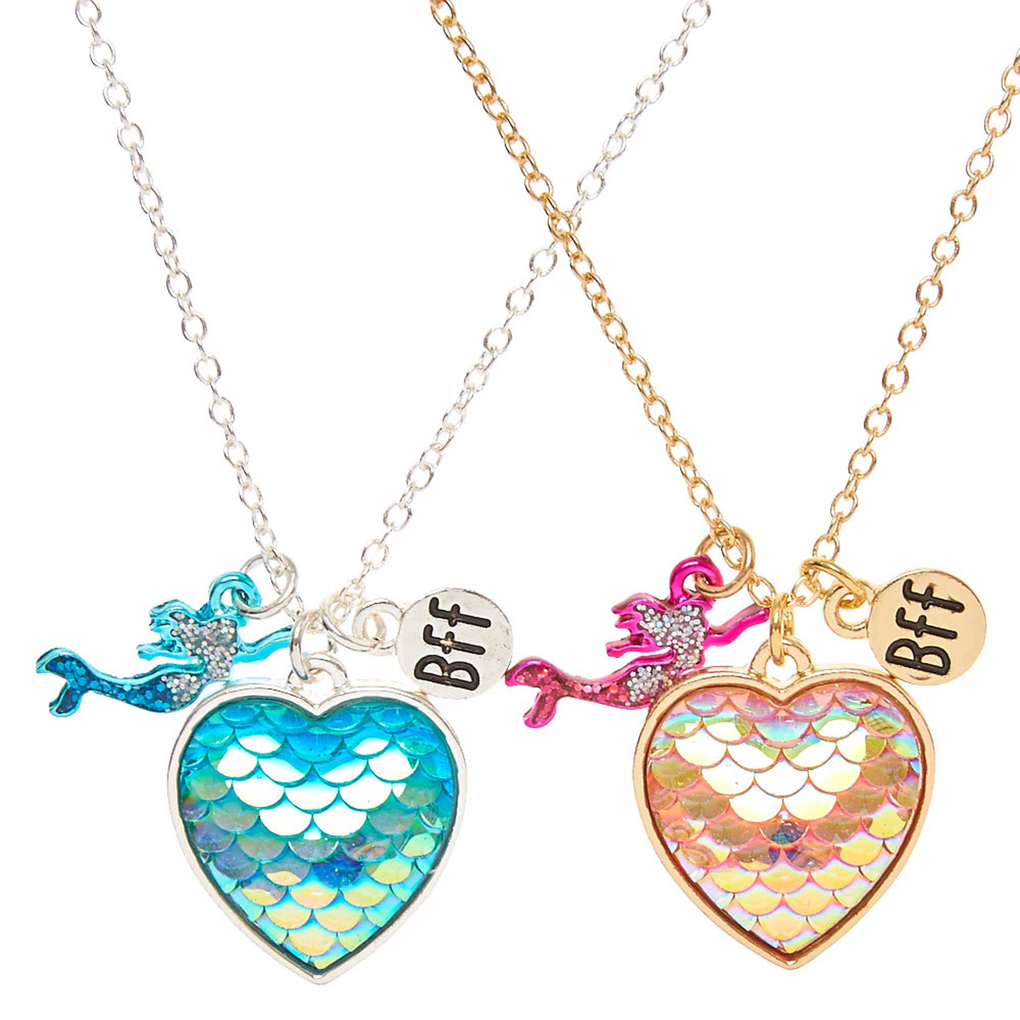 Best Friends Mermaid Scales Heart Pendant Necklaces ...