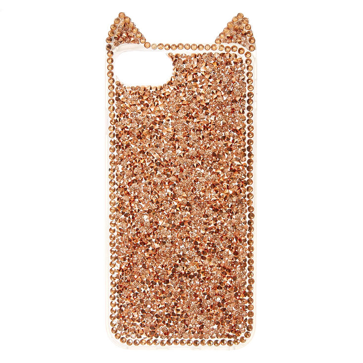 Rose Gold Crushed Crystal Cat Phone Case,