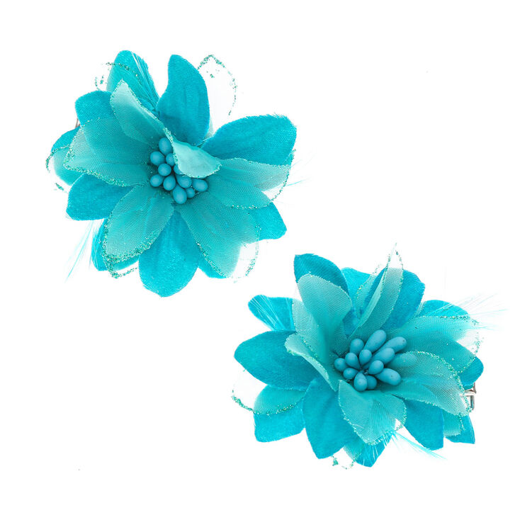 Blue Lily with Feathers Flower Hair Clips at Icing in Victor, NY | Tuggl
