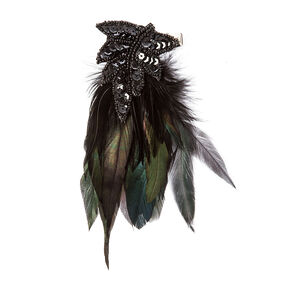 Black Sequin and Green Feathers Vintage Hair Clip,