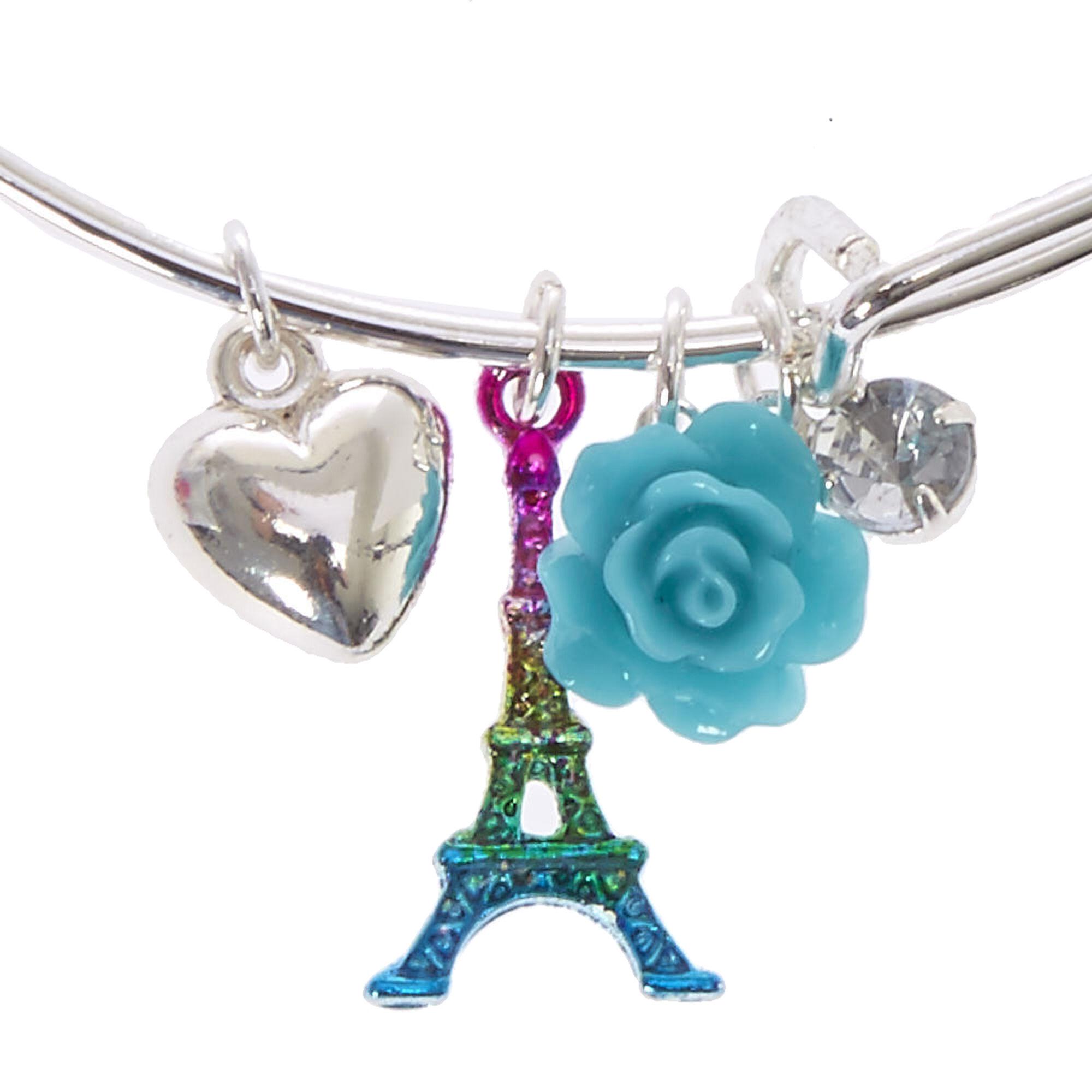 Metallic Rainbow Eiffel Tower Charm Bangle Bracelet