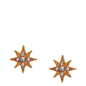 Rose Gold Cubic Zirconia Starburst Stud Earrings,
