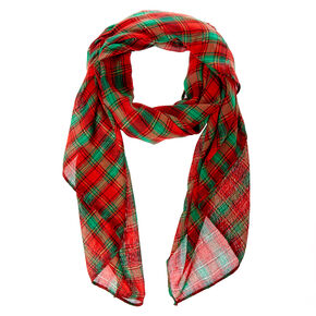 Red & Green Plaid Gold Lurex Scarf,