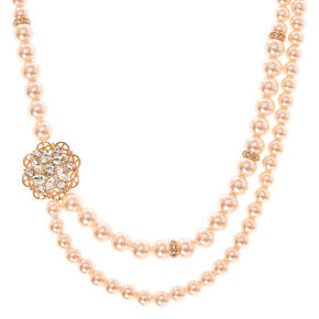 Rose Detail Blush Pearl Style Necklace,