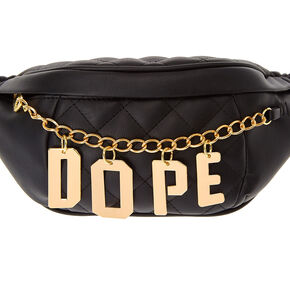 Black Faux Leather Quilted Fanny Pack with Gold-Tone DOPE Chain,