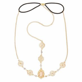 Gold Medallion with Iridescent Oval Stone 3-Way Headchain Headwrap,
