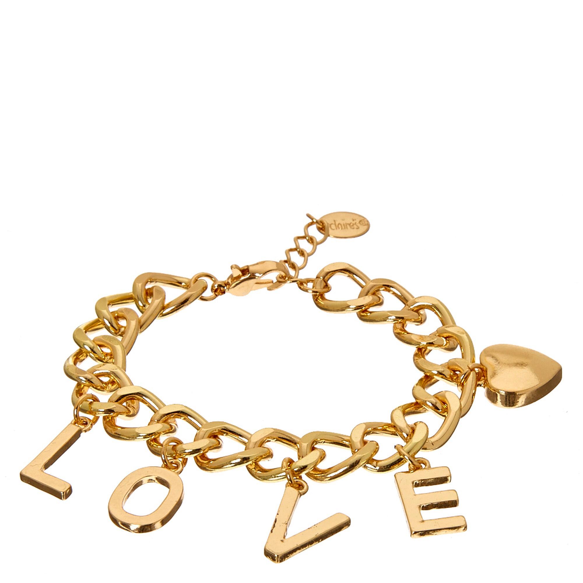 Gold Tone LOVE Charm Bracelet