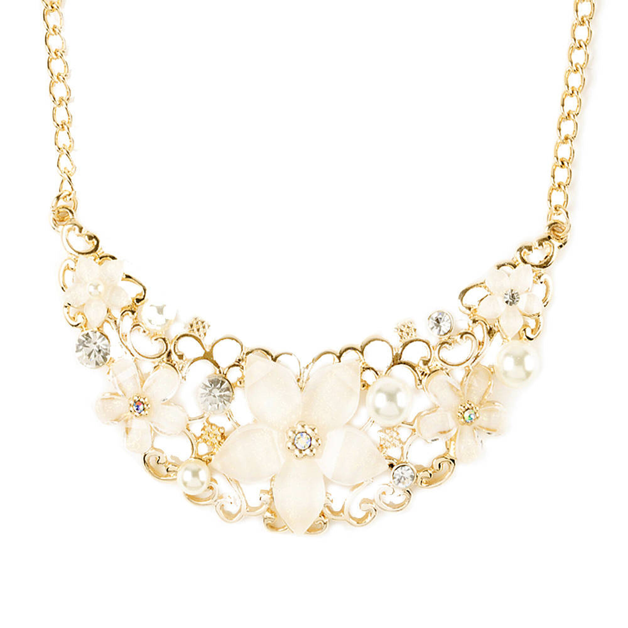 ivory glitter flowers and gold filigree bib necklace