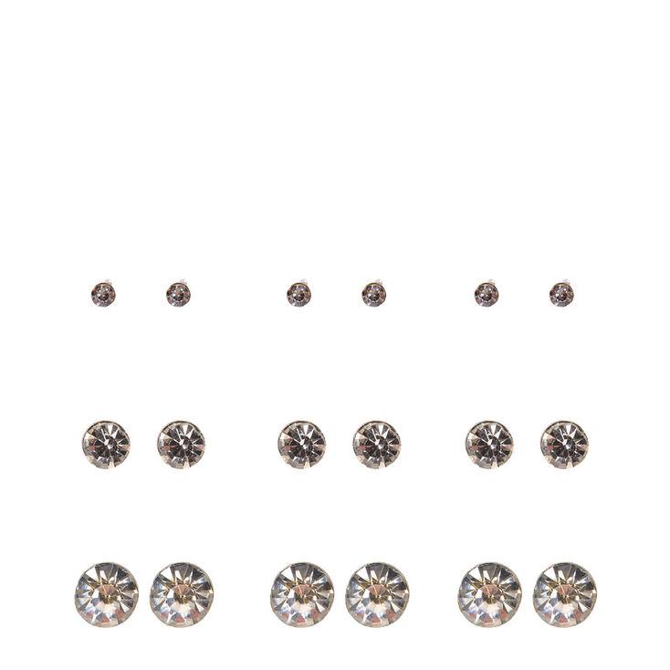 Graduated Silver-tone Martini Set Crystal Stud Earrings,